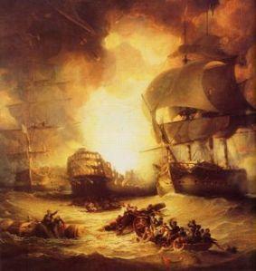 Destruction of the 120-gun French flagship L'Orient