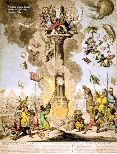 SIEGE DE LA COLONNE DE POMPÉE - SCIENCE IN THE PILLORY, by James Gillray, March, 1799