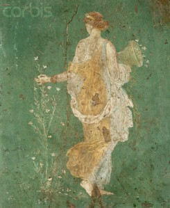 Ancient Roman Fresco Painting of Flora Picking Flowers