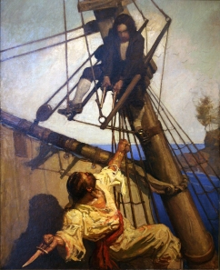 "N.C. Wyeth, ""One More Step, Mr. Hands"" - Illustration for Treasure Island."
