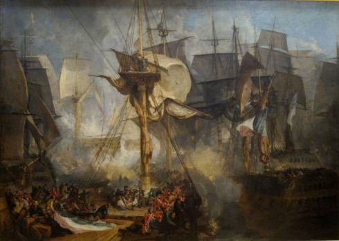 "J.M.W Turner, ""The Battle of Trafalgar, as seen from the starboard mizzen shrouds of the Victory"""