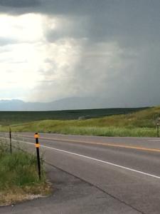 Highway 26 near I-25, Wyoming.  Laramie Range Mountains in background.